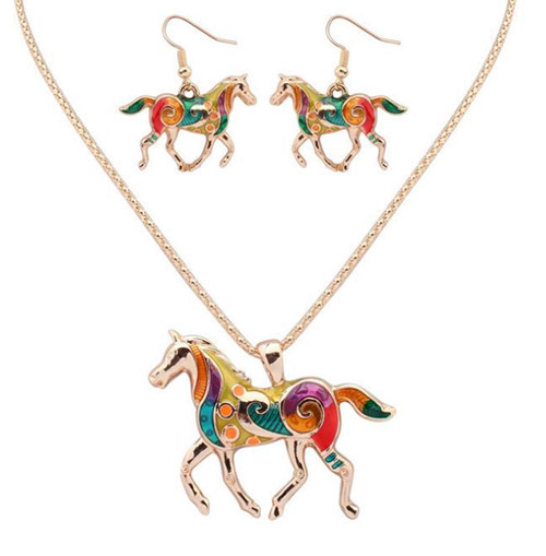 Painting accessories custom made jewellery OEM horse pendant necklaces and earrings wholesale china
