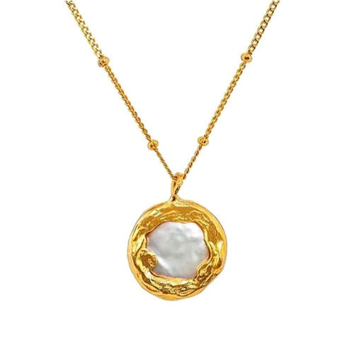 Real gold plated sterling silver jewellery high end baroque pearl necklace