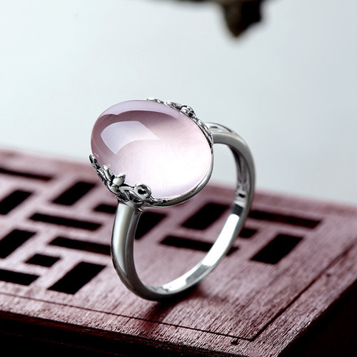Natural rose quartz jewelry large gem rings handmade big pink quartz crystal antique ring in 925 sterling silver gemstone jewelry online store wholesale