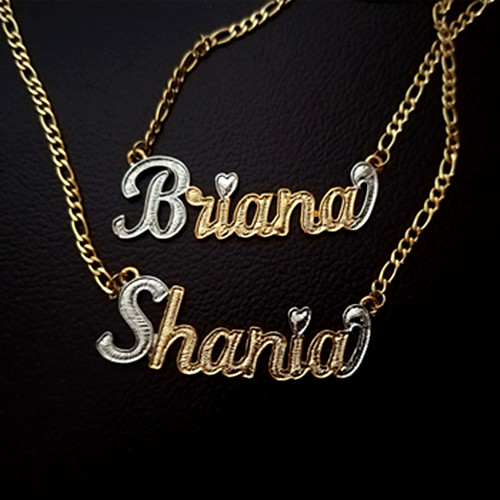 2020 new design gold and silver two tone personalized jewelry nameplate pendant NK links figaro chain necklace