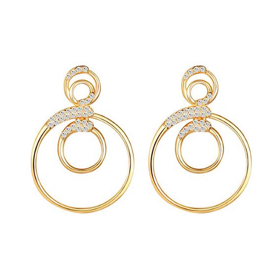 Geometrical shaped sterling silver jewellery 4 circles diamond earrings with zircon for women