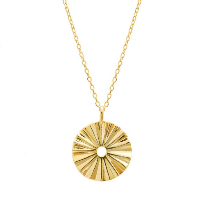 Gold color irregular round pendant personalized 925 sterling silver necklace