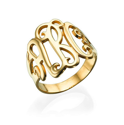 Monogrammed ring personalized jewellery custom modern name initials ring bridal gift sterling silver monogran ring plated gold
