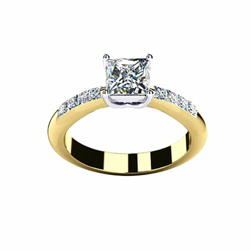 Simple style gold plated four-prong diamond ring with square stone in silver