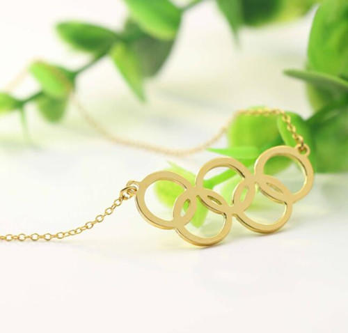Personalized fine jewels gold plated 5 interlocking circles pendant necklace custom made 925 sterling silver Olympic rings jewelry