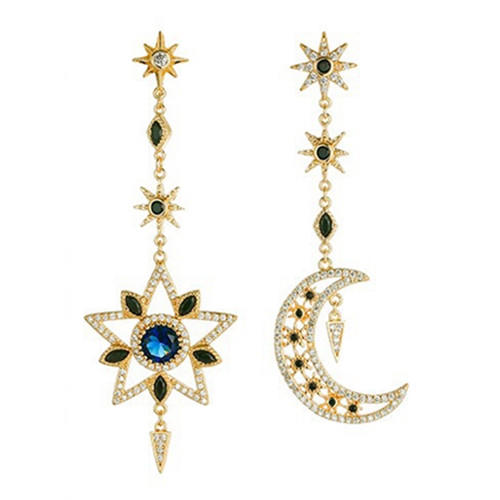Baroco style star and moon jewellery antique long dangling drop earrings with zircon