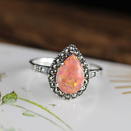 Big pink fire opal gemstone antique jewellery handmade womens 925 sterling silver delicate opal stone diamond teardrop rings wholesale