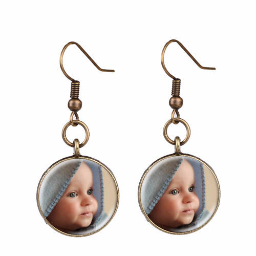 Custom photo jewelry and gifts photo drop earrings silver photo jewelry dangle earring supplier china