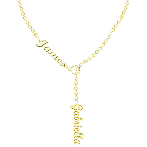Couples name necklace personalised with sideways infinity in 18k gold plating women's jewellery