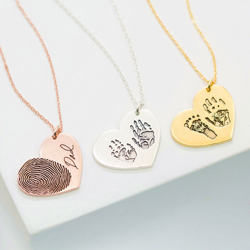 Fingerprint jewelry handprint necklace for her Mother's Day gifts