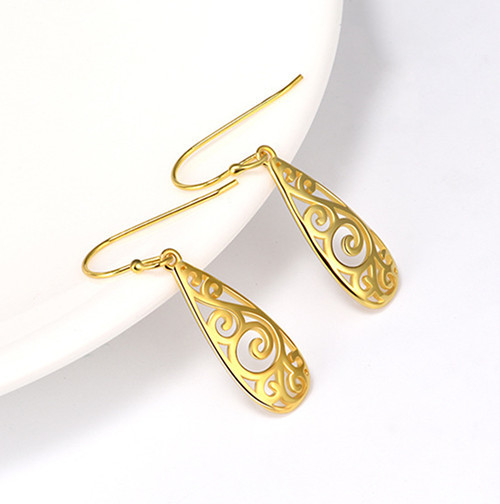 18k gold plated sterling silver long earrings new design