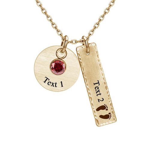 Handmade jewelry engraving bar pendant with birthstones round tag necklace with crystals in rose gold plating