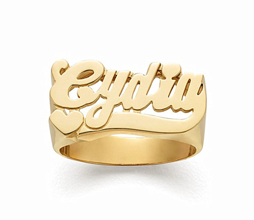 Wholesale heart and name jewelry nameplate wire big band rings in 18k gold plating