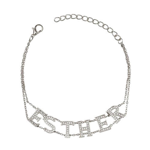 Custom-made silver capital English letter choker necklaces with zircon supplier