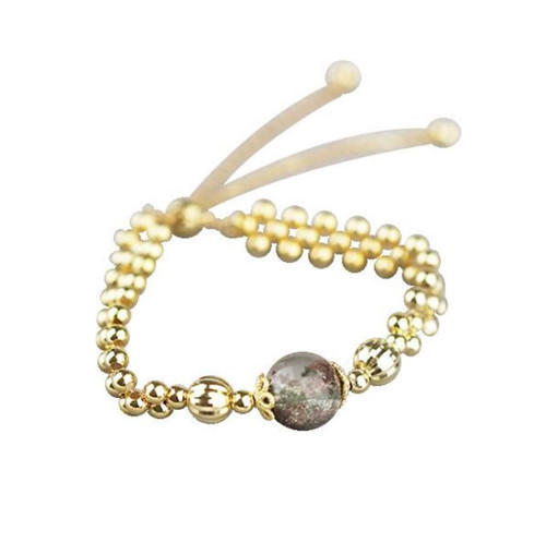 Green phantom quartz charm yellow gold plated womens 925 sterling silver round multi ball chain adjustable bangle cuff bracelet bead jewellery