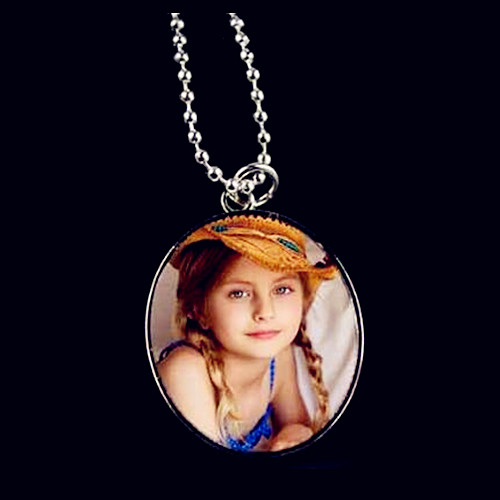 Custom made kids photos jewelry wholesale round pendant picture necklace