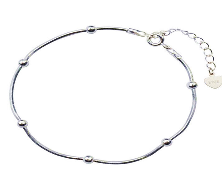 Simple pure sterling silver bead bracelet for women wholesale fashion jewelry
