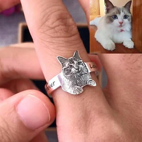 Customized unisex pet photo engraved jewelry personalized picture engraving rings