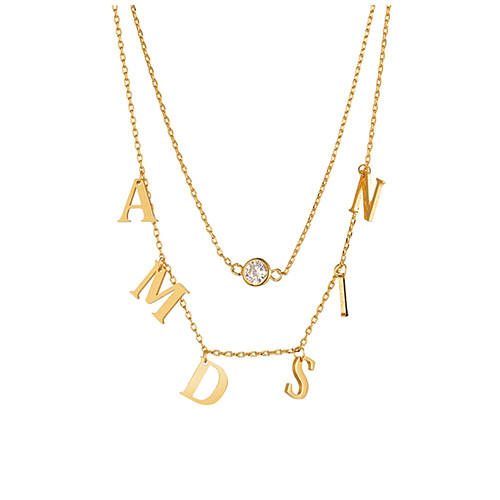 Multi layers double nameplate 925 sterling silver jewelry 2 names chain necklace wholesale