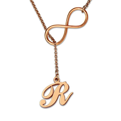 Custom made infinity symbol initial necklace personalized silver pendant necklace 925 sterling silver jewelry in rose gold plating