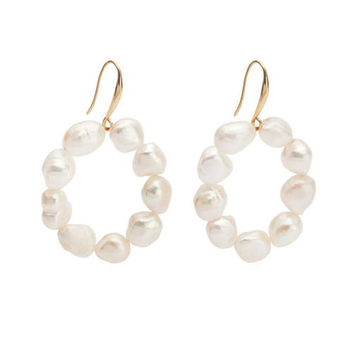 Baroque pearl fashion jewelry OEM gold plated big circle earrings wholesale