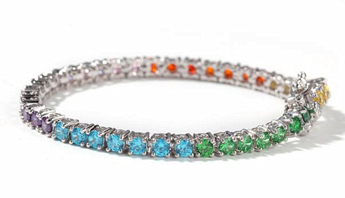 Stylish sparkling colorful stones jewels copper and CZ beaded bracelets for women