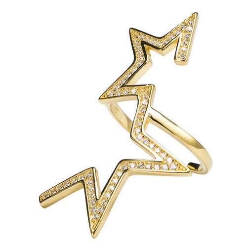 Big fashion jewelry OEM sterling silver open design star zircon rings in gold plating
