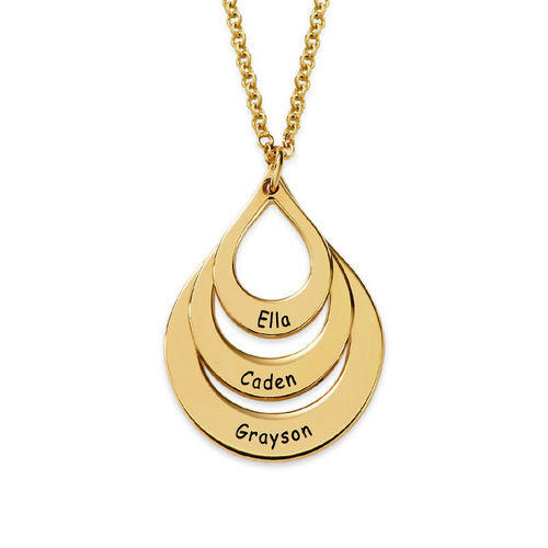 Personalized family jewelry Mother's Day engraved drop shaped 3 layers necklace custom with three names for women in gold plating
