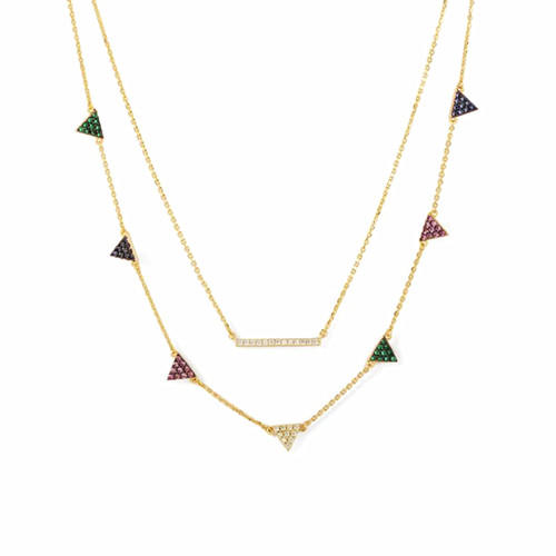 Gold plated triangle jewellery OEM two layered bar pendant necklace