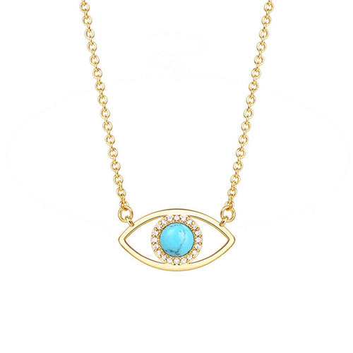 AAA zircon crescent moon Turquoise jewelry 14K gold plated evil eye pendant necklace