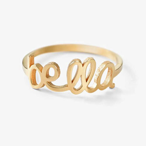 Custom gold rings with name wire name jewelry personalized nameplate rings in sterling silver