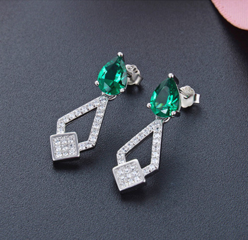 S925 sterling silver long drop emerald green earrings
