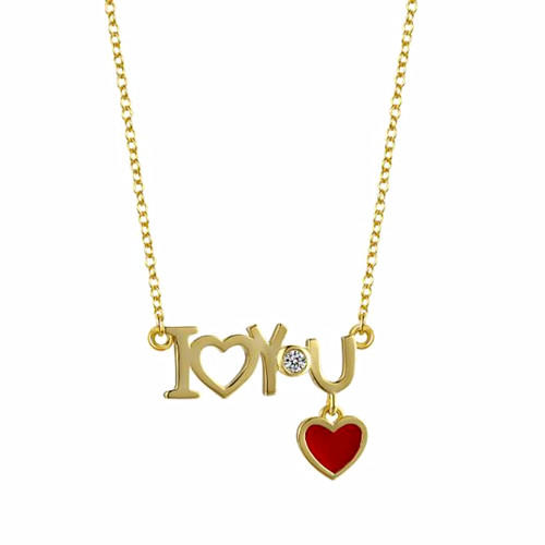18K gold plating I love you jewelry 5A zircon red heart pendant necklace