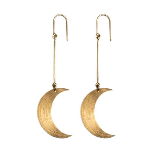 Vintage style classic jewelry satin finish long drop moon earrings in silver & gold