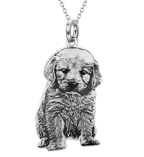 Custom dog portrait pendant necklace personalized pet jewelry cat memorial portrait photo necklace