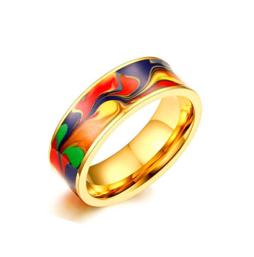 Classic abstract oil painting bespoke jewellery high quality personalised gold plated band ring for men