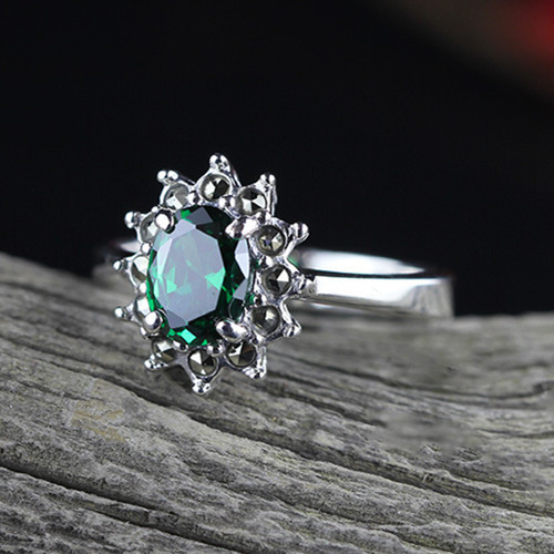 Natural zircon stone jewellery green agate gemstone engagement rings for women 925 sterling silver red garnet gems finger ring