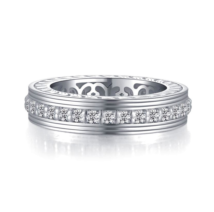 Sterling silver band diamond wedding ring for women fine jewelry OEM ODM