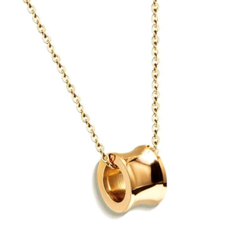 Irregular shape cylinder pendant necklace in gold color personalized titanium steel fine jewellery wholesale