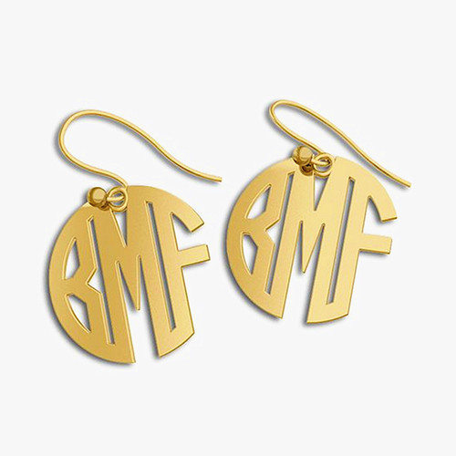 Ear piercing name earrings 925 silver monogram block earring gold custom made 3 letters momogrammed name initial earrings for mom