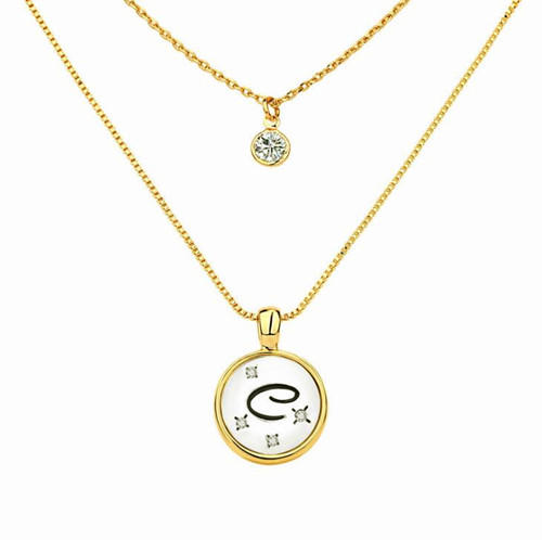 26 English alphabet engraving jewelry double layered zircon necklace