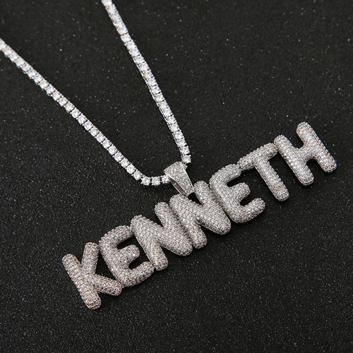 Family names jewelry drop style vertical name pendant necklace in sterling silver wholesale