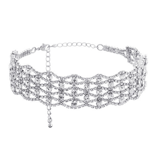 Delicate luxury jewelry wholesale hollow out diamond choker necklace with zircon for women