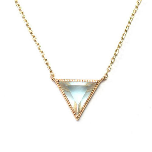 Natural crystal jewellery OEM triangular topaz pendant necklace in sterling silver for women