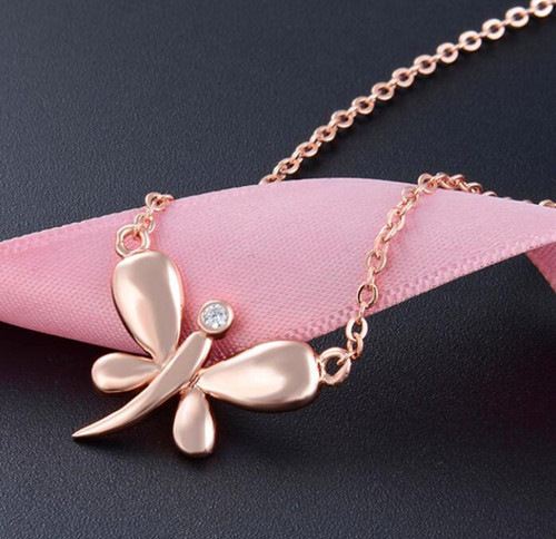 Rose gold plated sterling silver necklace dragonfly jewelry cheap custom jewelry wholesale