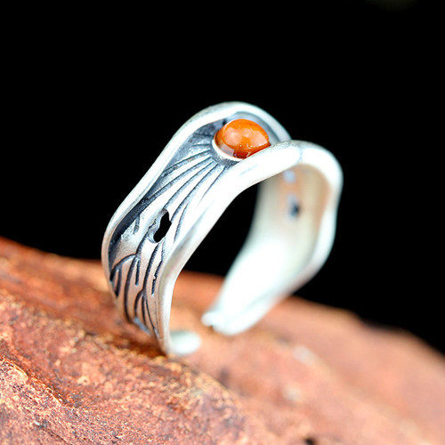 Open design big edge curling 925 sterling silver band and red agate stone finger ring women gemstone jewellery