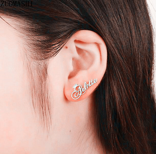 Personalized earrings customize any name trendy fashion nameplate earrings with CZ diamonds ear stud for women