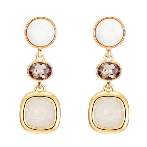 Personalized women fashion crystal jewelry gold plated long drop resin earrings
