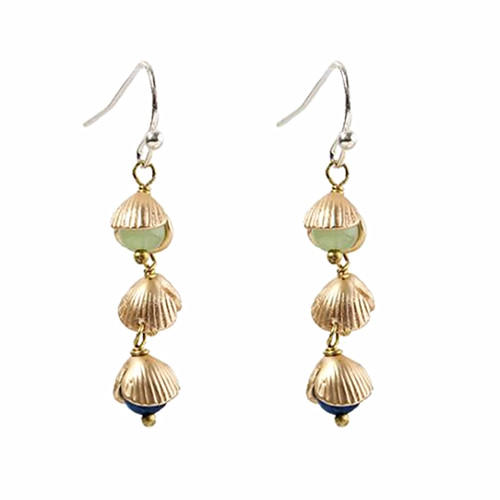Fashion seashell brass jewelry long dangling pearl drop earrings for women