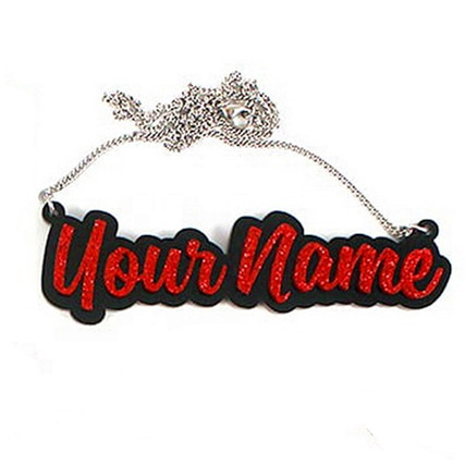 Red color with black outline jewelry personalized glittering two tone name necklace